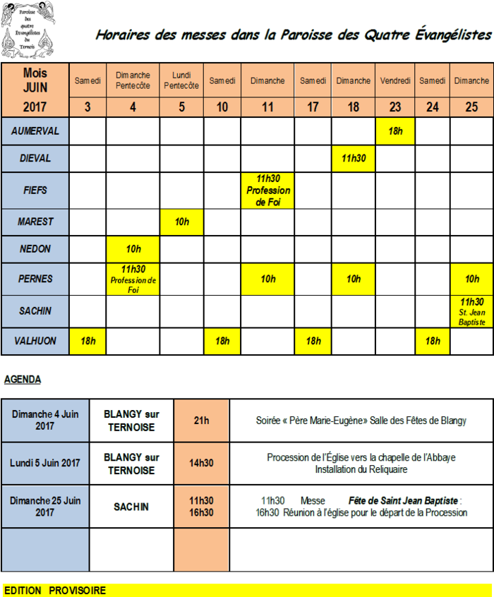 Calendrier des offices et agenda du mois de juin 2017 - Calendrier du mois de juin 2017 ...