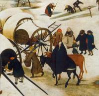 Un homme porte une scie, une femme de bleu vêtue, un âne et un boeuf