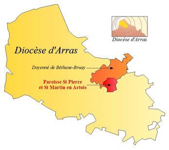 Situation géographique de la paroisse St Pierre et St Martin en Artois. En orange, le territoire du doyenné. En rouge, le territoire de la paroisse.