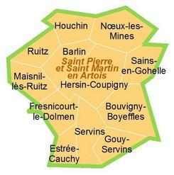 carte de la paroisse St Pierre et St Martin en Artois