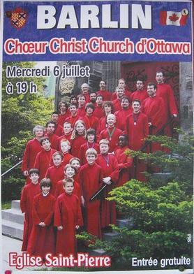 affiche du concert du choeur Christ Church d'Ottawa à Barlin le 06/07/2011