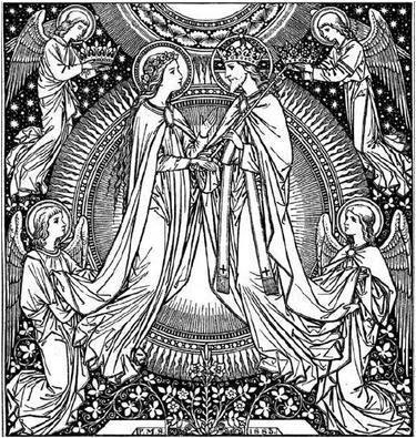 Marie rejoint le Seigneur Jésus dans la gloire du ciel. Illustration d'un missel ancien.