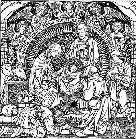 Scène de Noël, illustration d'un missel ancien