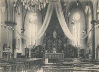 Noeux les Mines, église St Martin - avant la guerre 14 et décorée pour une fête de la Vierge (sa statue surmonte l'autel)