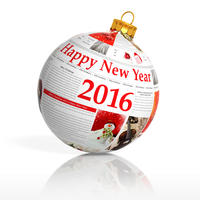 Newspaper happy new year 2016 ball on white backgr