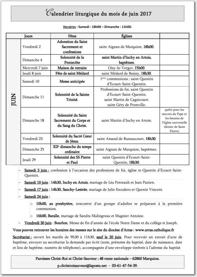 Calendrier liturgique du mois de juin 2017 - Calendrier du mois de juin 2017 ...