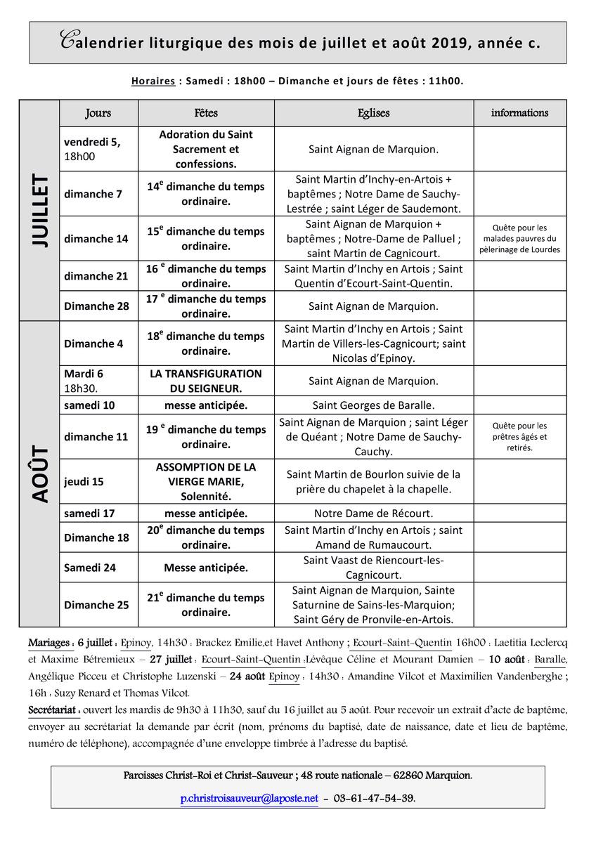 Calendrier Du Mois De Juillet 2019.Calendrier Liturgique Des Mois De Juillet Et Aout 2019