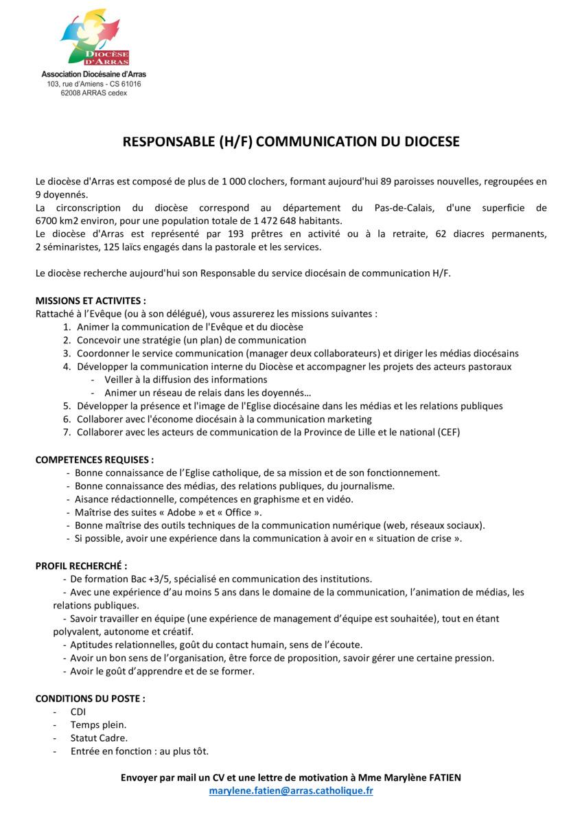 Le Diocèse D Arras Recherche Un Responsable Du Service