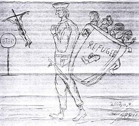 Calais dessin de réfugié