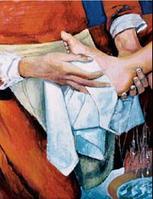 Le geste de Jésus lavant les pieds de ses idisciples... L'eucharistie ne prend sens que si elle se continue dans la solidarité universelle (Jean-Paul II)