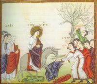 détail de l'évangiliaire d'Egbert