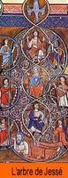 Enluminure reprenant la promesse d'une descendance au père de David. Jésus, fils de David.