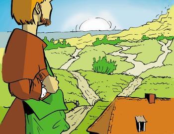 devant la maison natale et la campagne