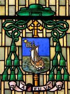 devise: A Dieu va ! Vitrail Maison diocésaine d'Arras