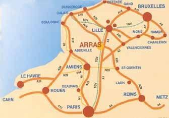 Position d'Arras dans la région Nord-Pas-de-Calais