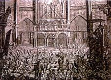 Sacrilèges que les hérétiques ont commis contre les images des saints dans l'Eglsie cathédrale d'Anvers le 21 août 1566.