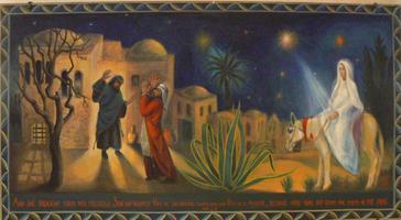 Bethléem, tapisserie à l'hôtellerie du patriarcat latin.