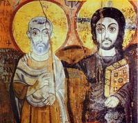 Le Christ avec un colpagnon de route (à gauche). Il s'appuie sur son ami et l'envoie au-devant.