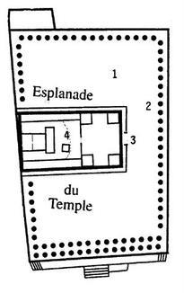 Temple de Jérusalem. Plan supposé, aucune trace n'ayant pu être relevée après la destruction par Titus