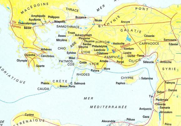 Actes, carte des voies romaines