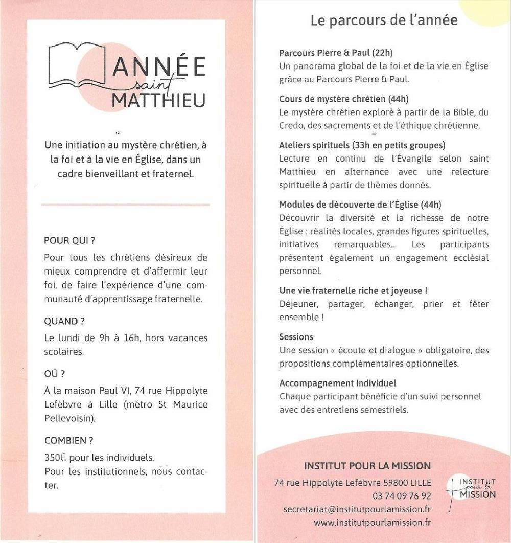 Annee St Matthieu