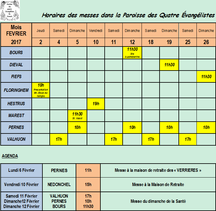 Calendrier Et Agenda Du Mois De Fevrier 2017
