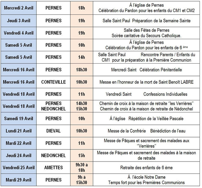 Calendrier Messe Avril 2