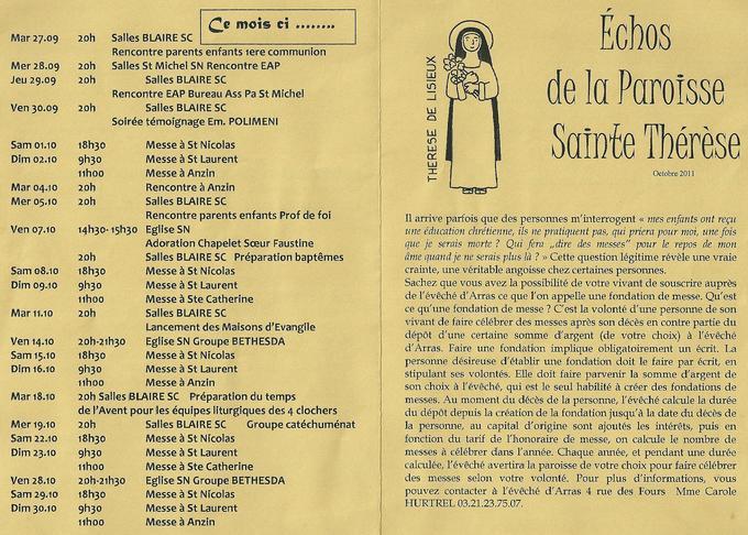 Echos de la paroisse Sainte Thérèse octobre 2011