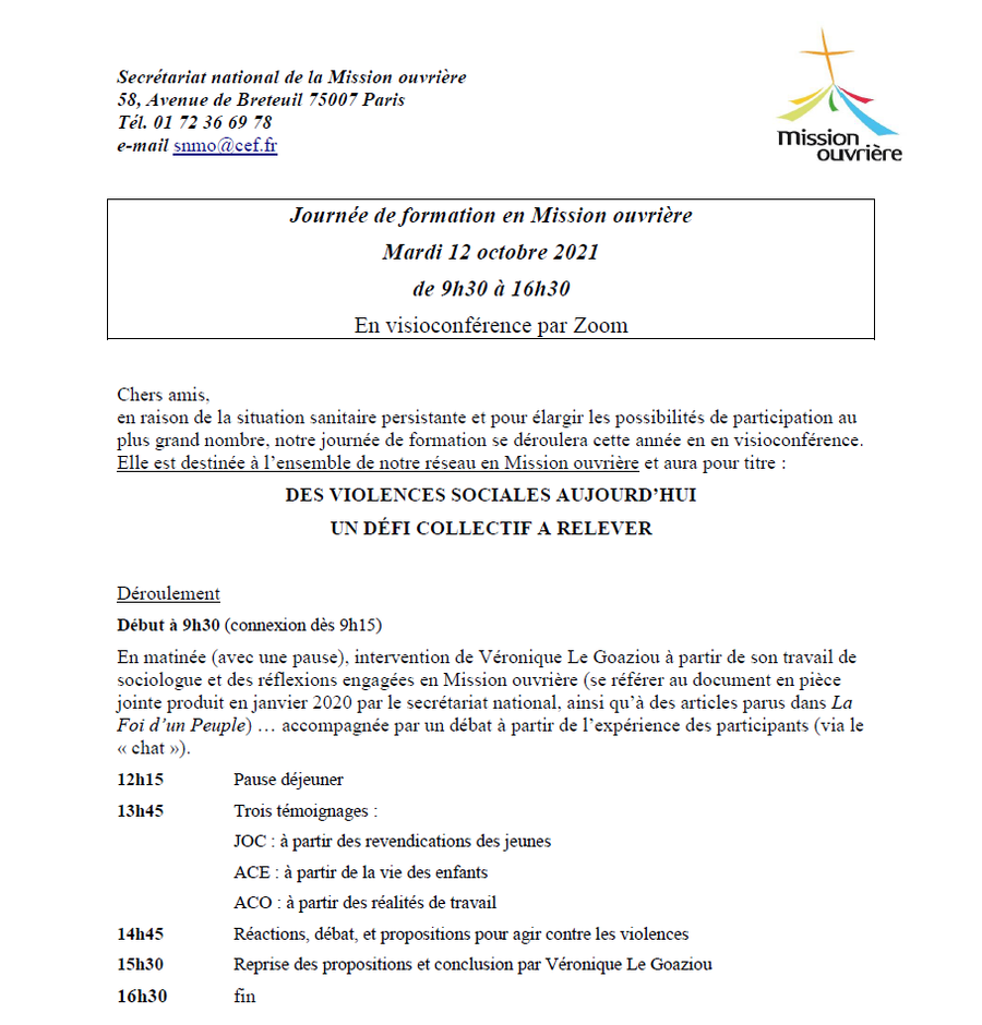 Invitation journee \'violences sociales\' 12 octob