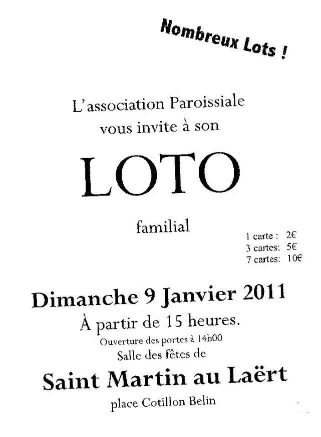 Aniamtion Loto de l'association paroissiale de Saint Martin au Laert