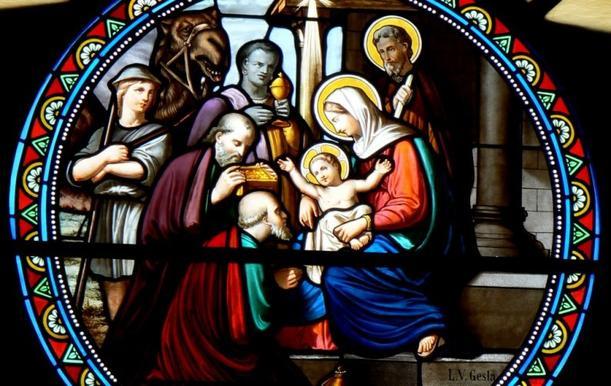 La visite des mages. Vitrail église de Bethléem